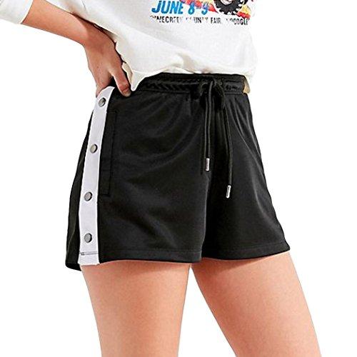 Spbamboo Womens Nail Buckle Mid Waist Loose Drawstring Waist Ringer Shorts Pants