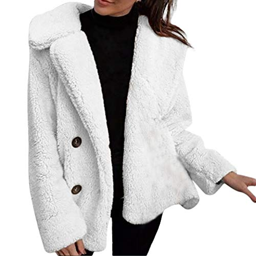 iLUGU Women Winter Casual Warm Button Turn-Down Collar Solid Color Faux Berber Fleece Coat Jacket (L, White)