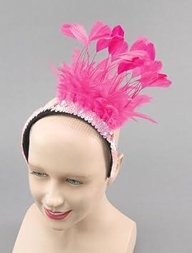 Pink Feather Sequin Headband Moulin Rouge Drag Queen Headpiece ...