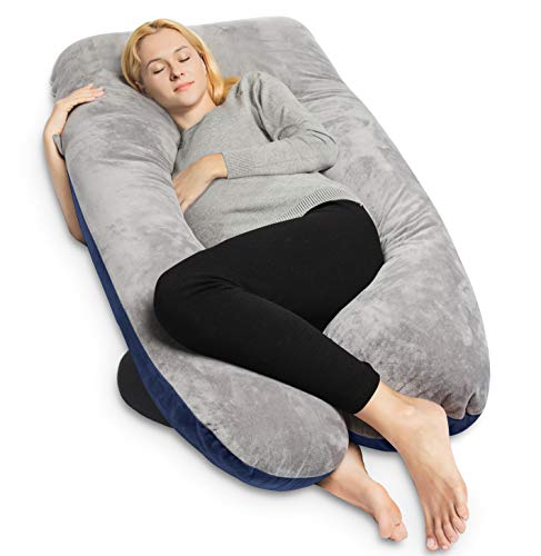 QUEEN ROSE Pregnancy Pillow and U-Shape Full Body Pillow with Velvet Cover,Blue and ()