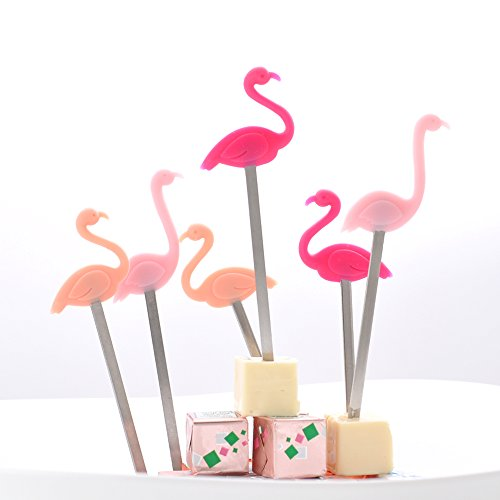 CKB-Ltd-Set-Of-6-Flamingo-Party-Picks-Multi-Use-Cake-Toppers-Sticks-Cocktail-Supplies-Ideal-For-Parties-Made-From-Silicone-And-Stainless-Steel