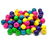 """Rockin Beads Brand, Mixed Color Painted Wood Round Spacer Beads 8x6mm (3/8""""x1/4""""), Sold Per Pack of 1000"""