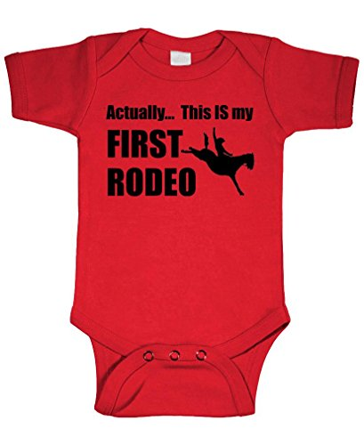 YES IT is My First Rodeo - Funny Horse - Cotton Infant Bodysuit, 6m, Red -