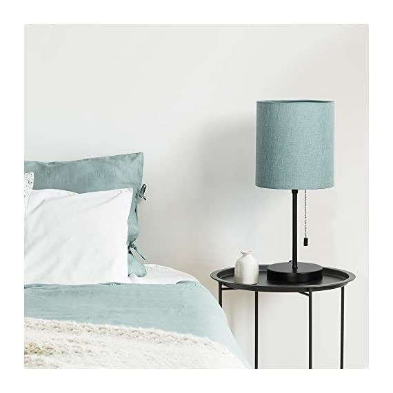 HAITRAL Bedside Table Lamp - Modern Nightstand Lamps with Fabric Shade, Pull Chain Switch Small Desk Lamps for Bedrooms, Kids Room, College Dorm - CadetBlue (HT-TH102-10) - 【MODERN & MINMALIST DESIGN】 The modern table lamp is designed for a stylish and elegant look that fits any decor scheme, such as urban, modern, minimalist, vintage and traditional. The stylish design showcases black metal base with cadet blue shade for an added upscale feel and elegant touch to any room. 【PERFECT SIZE FOR ANY DESK】 Lamp dimensions - 16.3 x 7.5 x 5.5 inches, the stick lamp has a mini basic that fits to any desk, table or dresser. It's small lamp but it can give off a nice amount of light, able to brighten up a room by itself. Dresses up any room with a soft radiance! It's perfect for bedrooms, kids room, college dorm, nursery, office, girls room or den. ❥ (Please be clear about the size when you browse) 【BULB REQUIREMENTS】 The HAITRAL nightstand lamp can be only equipped with an E26 standard size light bulbs, Max 60 watts (Without Bulbs). It's compatible with a variety of light bulbs, such as incandescent, halogen bulbs, LED or CFL light bulbs. Its cadet blue shade softens the light that provides a flicker-free lighting for reading, studying or working. Eye-caring and affordable! - lamps, bedroom-decor, bedroom - 41FSN 7T7OL. SS570  -