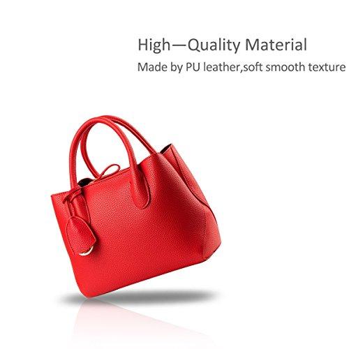 NICOLE&DORIS Mujeres Boutique Modern Stylish Top Handle bolso Messenger Shoulder Purse Tote Bolsa de trabajo casual Satchel Rosado rojo