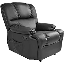 Massage Recliner Chair with Heat and Vibrating, Gentleshower Full Body Leather Massage Chair with Control Black Sofa Chair Recliner for Living Room