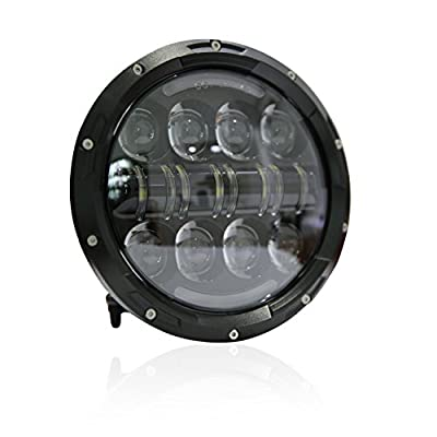 Wisamic 7 inch 80W Motorcycle LED Headlight Angle Eyes with Amber Signal Halo DRL Halo Compatible with Street Glide Road King Ultra Classic Electra Tri Cvo Heritage Softail Deluxe Fatboy-Black: Automotive