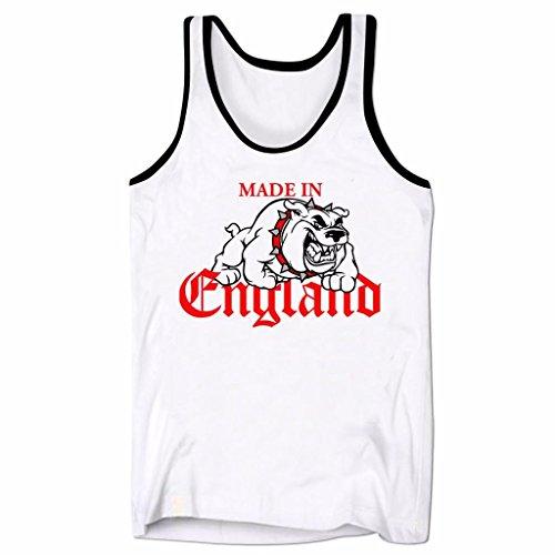 Bulldogs T-shirts Tank Tops (Men's Graphic Tank Top Made In England British Bulldog Sleeveless Tee Shirt White & Black L)