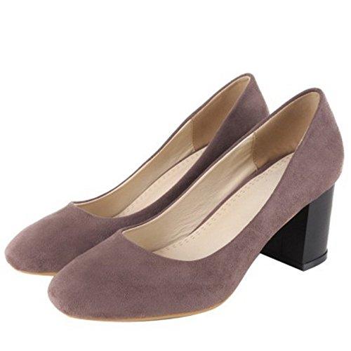 COOLCEPT Mujer Clasico Cerrado Tacon Alto Bombas Zapato Sin Cordones Oficina Vestir Zapatos Gris