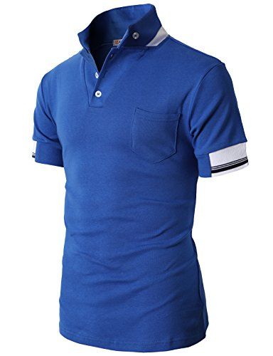 H2H Mens Fashion Cotton T-shirts with Mandarin Stand Collar Pocket BLUE US S/Asia M (JDSK75)