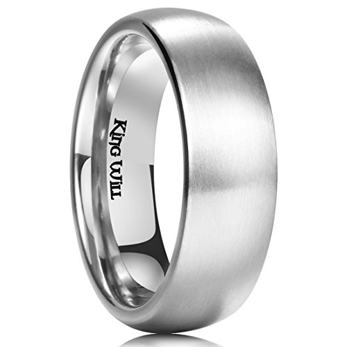 - King Will 7MM Titanium Ring Brushed/Matte Comfort Fit Wedding Band for Men Women (12.5)
