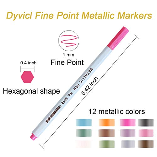 Dyvicl Metallic Markers Fine Point Metallic Marker Pens for Black Paper, Adult Coloring, Art Rock Painting, Halloween Pumpkin, Cardstock, Metal, Ceramics, Glass, Scrapbooking Supplies, Set of 12