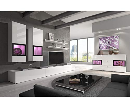 - BAROS White Gloss TV Wall Unit Set