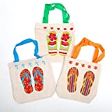Fun Express Canvas Flip Flop Tote Bags. Multicolor (24 Pack) 8'' X 2 1/2'' X 8 1/2'' with 5 1/2'' Handles. Poly-cotton.