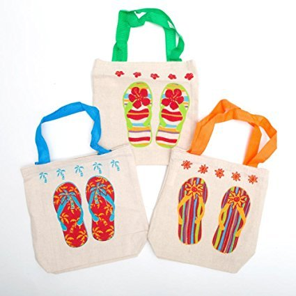 Fun Express Canvas Flip Flop Tote Bags. Multicolor (24 Pack) 8'' X 2 1/2'' X 8 1/2'' with 5 1/2'' Handles. Poly-cotton. by Fun Express