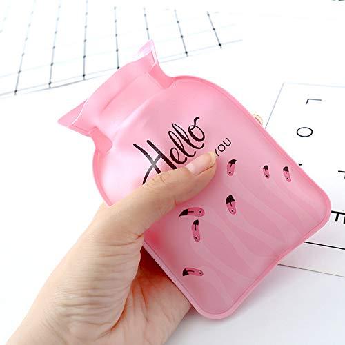 MSYOU - 2 mini botellas de agua caliente, diseño de flamencos, bolsa de agua caliente, calentadores de manos, ideal como regalo para mujeres y niñas (rosa): ...