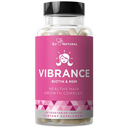 Vibrance Hair Growth Vitamins - Grow Hair Faster, Healthier & Stronger Length, Beautiful Locks for All Hair Types - Biotin & OptiMSM - 60 Vegetarian Soft Capsules