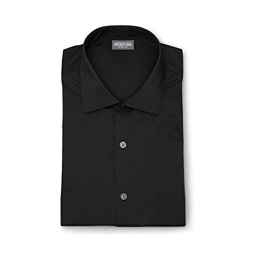Kenneth Cole REACTION Men's Technicole Slim Fit Stretch Solid Spread Collar Dress Shirt, Black, 15.5