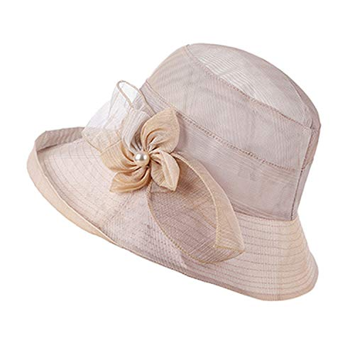 Elegant Summer Hats for Women Gradient Color Flowers Sun Hat Anti-UV Cloth Wide Brim Mesh Beach,Khaki