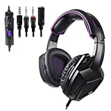 Stereo Gaming Headset for PS4, PC,Xbox One Controller, SADES SA920PLUS Noise Cancelling Over Ear Headphones with Mic, Bass Surround, Soft Memory Earmuffs for Laptop Mac Nintendo Switch(Black Purple)