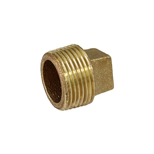 Everflow BRPL0034-NL 3/4-Inch Male National Pipe Taper Threads Brass Cored Plug with Square Head, Lead Free Brass Pipe Fitting, Higher Corrosion Resistance, Economical & Easy to - Pipe Head Cored Plug