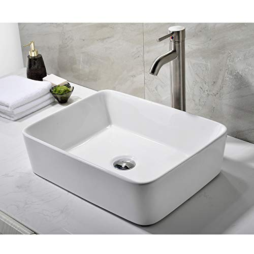 - Modern Porcelain Above Counter White Ceramic Bathroom Vessel Sink
