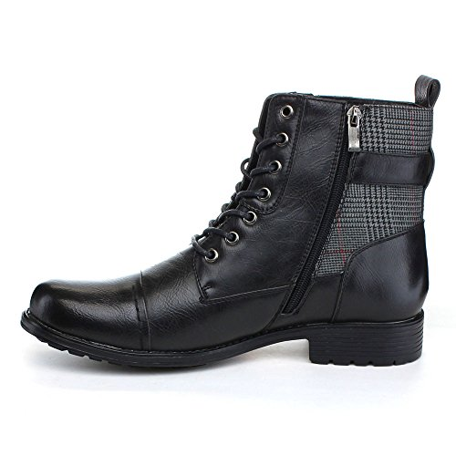 Arider Bull-3 Mens High-Top Lace Up Side Zipper Ankle Booties Casual Shoes Black eEyNZzH