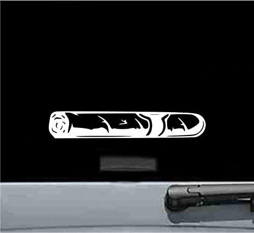 JS Artworks Cigar Silhouette Vinyl Decal Sticker (White)