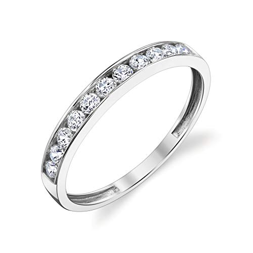 Tesori & Co 10k Solid White Gold Channel Wedding Band Ring Size 9 (Gold Rings For Women For Wedding)
