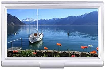 Geneva lake scenery Montreux Switzerland Card Holder