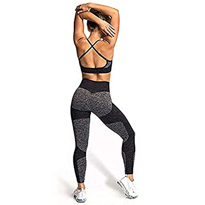 Hotexy Women's Workout Sets 2 Pieces Color Block Yoga Leggings with Stretch Sports Bra Gym Athletic Top and Bottom Clothing at Women's Clothing store