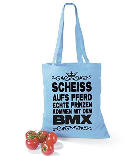 Artdiktat Baumwolltasche Scheiß auf´s Pferd - Echte Prinzen kommen mit dem BMX yellow skyblue