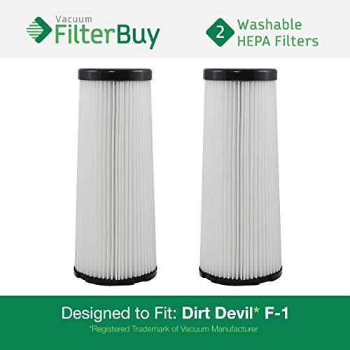 2 - FilterBuy Dirt Devil F1 (F-1) Washable and Reusable Compatible Filters. Designed by FilterBuy to Replace Dirt Devil Part #'s 3JC0280000 / 3-JC0280-000 & 2JC0280000 / 2-JC0280-000. (2 Stick Dynamite 1)