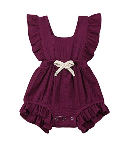 Qiylii Infant Baby Girl Ruffle Sleeve Romper One-Piece Bowknot Cotton Bodysuit Jumpsuit Outfit Clothes (0-6 Months, Dark Purple)