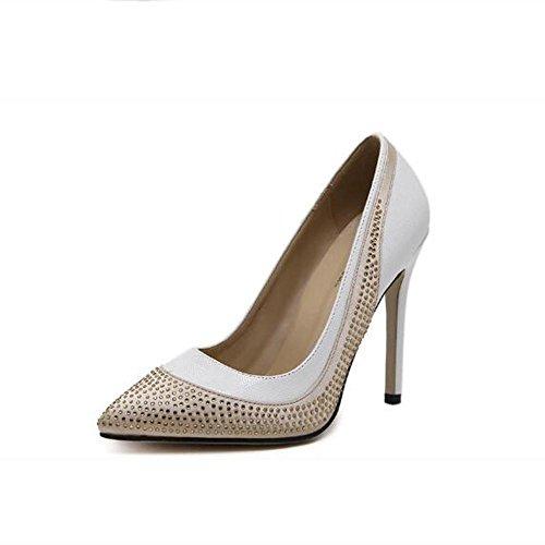 L@YC Frauen Diamanten High Heels Rhinestone Flache Zehe Schuhe Hochzeit B¨¹ro & Karriere / White / Black White