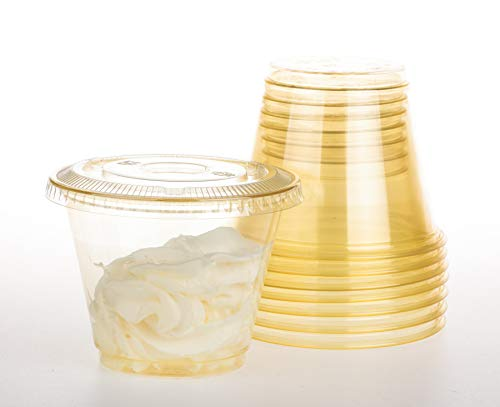 GOLDEN APPLE, 9oz-30sets Yellow Plastic Cups with Clear Flat no Hole lids