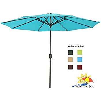 Superb Patio Watcher 9 Ft Aluminum Patio Umbrella With Push Button Tilt And Crank,  250 GSM Fabric,8 Steel Ribs, Turquoise