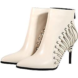 Calaier Womens QZZXCB Pointed-Toe 9CM Zipper Boots Shoes, White, 8.5 US