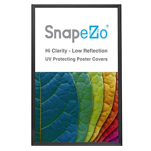 SnapeZo Poster Frame 32x50 Inches, Black 1.25 Inch Aluminum Profile, Front-Loading Snap Frame, Wall Mounting, Professional Series