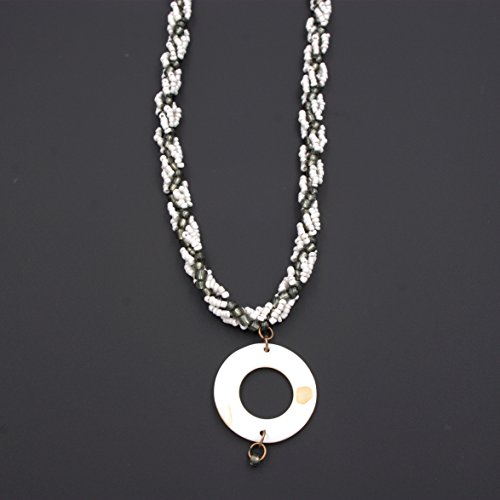 Shell Pendant Necklace - White & Grey Bead Weave, Shell Pendant, 2 & 22-in (Weave Shell)