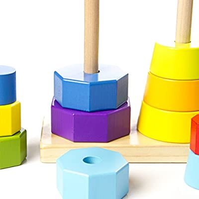 Fat Brain Toys Shape Tower - GeoPeg Stacking Tower Baby Toys & Gifts for Babies: Toys & Games