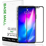 BaseMall Compatible iPhone X/XS Screen Protector, Tempered Glass Screen Protector, 3D Touch Full Coverage Tempered Glass Film for iPhone X/XS- Black, 1 Pack