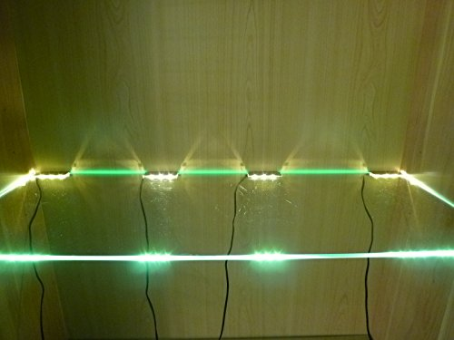 LED Glasbodenbeleuchtung - LED Vitrinenbeleuchtung, 4 x LED Clipleuchten - mit je 3 LED Lichtfarbe warmweiß