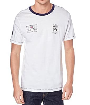 CLK Polo - Camiseta College Lisa De Manga Corta Color Blanco Roto ...