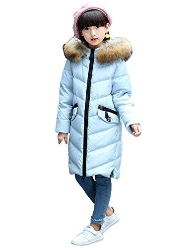 CUKKE Girl's Down Fur Hooded Jacket Winter Warm Outwear Winter Coat (150,Blue) by CUKKE