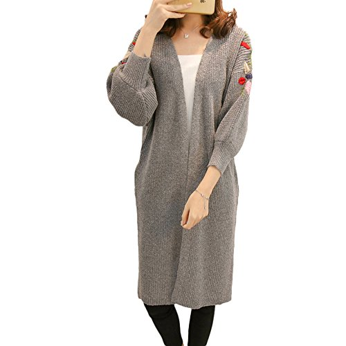 Floral Knit Cardigan - Luluka Women's Twist Pockets Floral Embroidery Open Sweater Loose Long Knit Cardigan US Small Grey