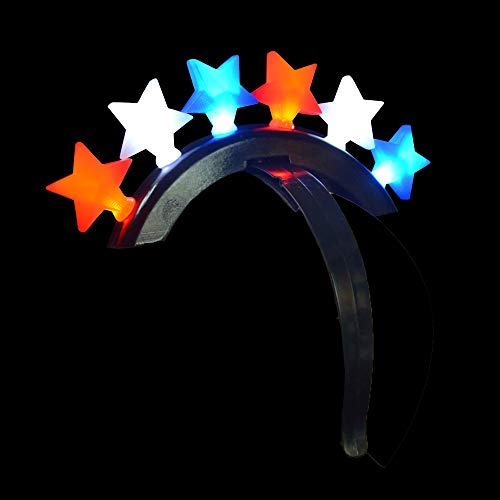 Fun Central BC926 1ct LED Star Mohawk, Light Up Headband, Fun Mohawk Wig, Glowing Mohawk, Light Up Toys - 4th of July Parades, Memorial Day, Patriotic Themed Parties