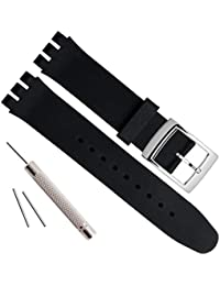 19mm Replacement Waterproof Silicone Rubber Watch Strap Watch Band (Black)