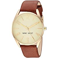 Nine West Women's NW/2182CHHY Gold-Tone and Brown Strap Watch