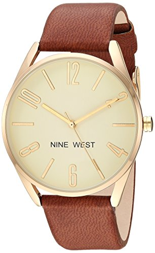 Nine West Women's NW/2182CHHY Gold-Tone and Brown Strap Watch ()